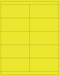 "4.25"" x 2"" Label 10-up Yellow Fluorescent Paper Permanent Adhesive 3310YEL-B"