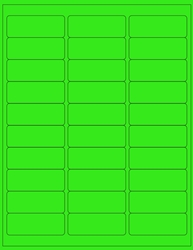 "Green Fluorescent Labels- 2.625"" x 1"" 