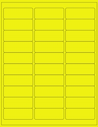 "Yellow Fluorescent Labels- 2.625"" x 1"" 