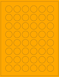 "Orange Fluorescent Labels - 1"" x 1"" 