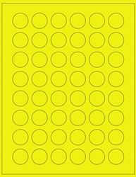 "Round Yellow Fluorescent Labels- 1"" Diameter 