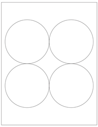 "Round Blank White Labels - 3.9375"" Diameter 