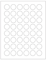 "Round Blank White Labels- 1"" Diameter 