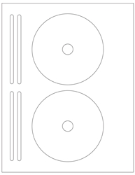 "4.625"" CD/DVD Labels 2-up White Glossy Paper Permanent Adhesive 6602-DVD"
