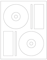 "4.625"" CD/DVD Labels 2-up White Paper Permanent Adhesive 3102DVD-B"