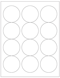 "Round Blank White Labels- 2.5"" Diameter 