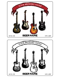 "Eletric Guitars Beer Bottle Label Template, 5""x4"" 
