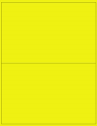 "8.5"" x 5.5"" Label 2-up Yellow Fluorescent Paper Permanent Adhesive 3302YEL-B"