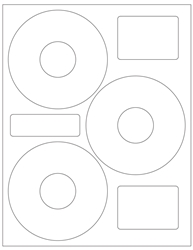 "4.625"" CD/DVD Label 3-up White Paper Permanent Adhesive 3303CD-B"