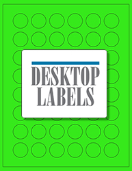 "1"" x 1"" Label 48-up Green Fluorescent Paper Permanent Adhesive 331CRGRN-B"
