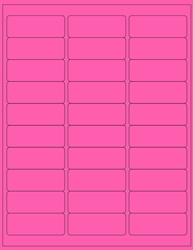 "2.625"" x 1"" Label 30-up Pink Fluorescent Paper Permanent Adhesive 3330PNK-B"
