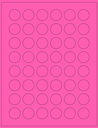 "1"" Diameter Label 48-up Pink Fluorescent Paper Permanent Adhesive 331CRPNK-B"