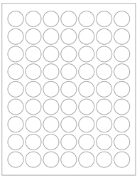 "Round Blank White Labels - 1"" Diameter 