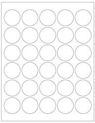 "Round White Glossy Labels- 1.5"" Diameter 
