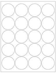 "Round White Glossy Labels- 2"" Diameter 