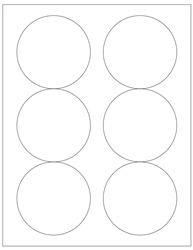 "Round White Waterproof Labels- 3.33"" Diameter 