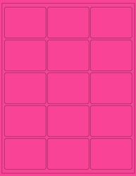 "Pink Fluorescent Labels- 2.675"" x 2"" 