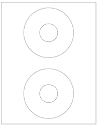 "CD Blank White Labels- 4.625"" Diameter 